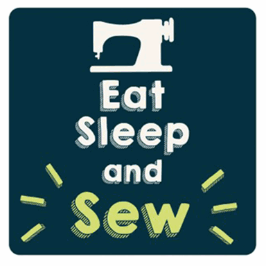 Sewing Themed Coaster - 'Eat Sleep and Sew'