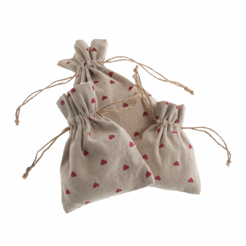 <!--9916-->Natural Linen Bags - Set of 3 - Red Heart