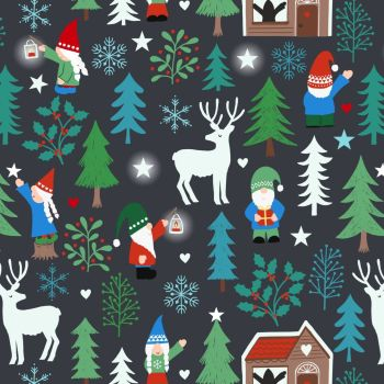 Lewis & Irene - Hygge Glow - Tomte Forest on Charcoal (with glow in the dark detailing), per fat quarter
