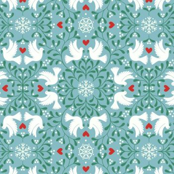 Lewis & Irene - Hygge Glow - Scandi Dove on Icy Blue (with glow in the dark detailing), per fat quarter