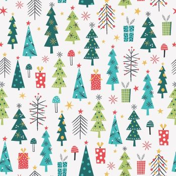 Dashwood - Forest Friends - Christmas Trees on White, per fat quarter