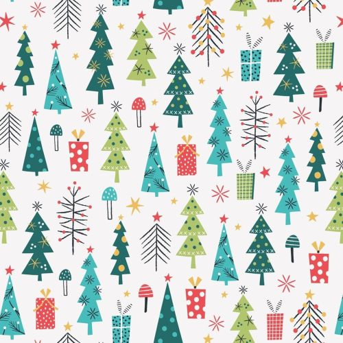 <!--9073-->Dashwood - Forest Friends - Christmas Trees on White, per fat qu