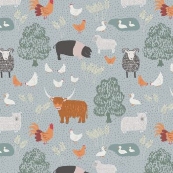 Lewis & Irene - Country Life Reloved - Country Life on Grey, per fat quarter