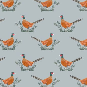Lewis & Irene - Country Life Reloved - Pheasants on Grey, per fat quarter
