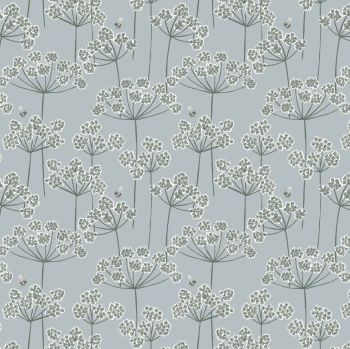 Lewis & Irene - Country Life Reloved - Cow Parsley & Bee on Grey, per fat quarter