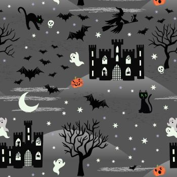 Lewis & Irene - Castle Spooky on Grey (with glow in the dark detailing), per fat quarter