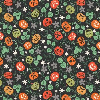Lewis & Irene - Spooky Pumpkins on Black (with glow in the dark detailing), per fat quarter