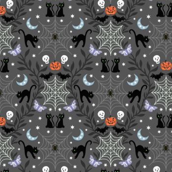 Lewis & Irene - Cobwebs & Cats on Grey (with glow in the dark detailing), per fat quarter
