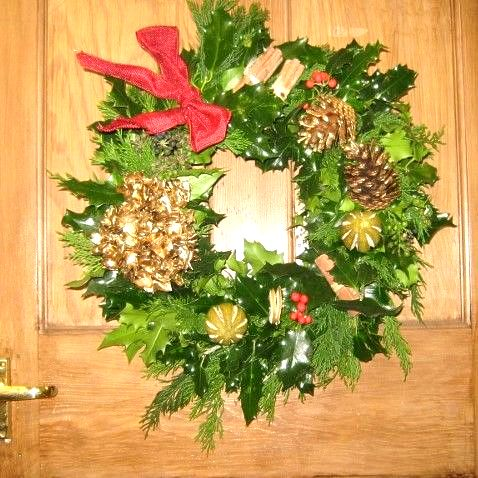 Red and Gold Holly Wreath