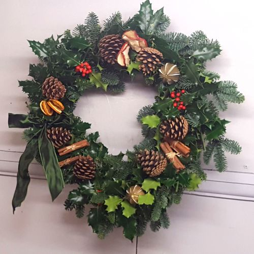 Blue Spruce and Holly Wreath