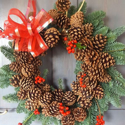 Cones and Berries Blue Spruce Wreath