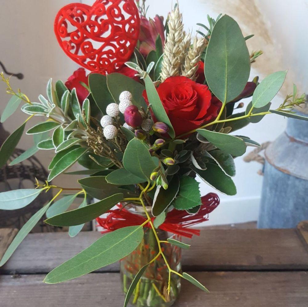 Valentine's Jam Jar Posy