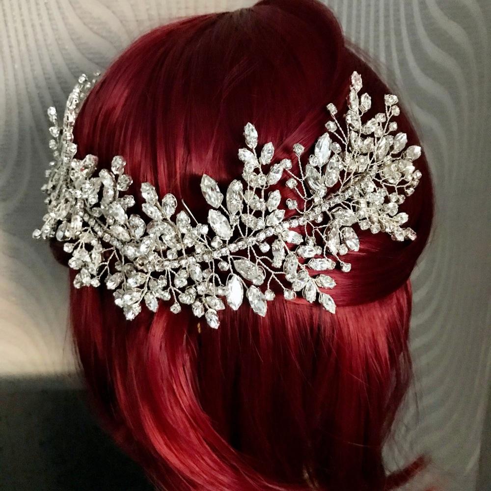 Fiorella  Full Crystal Vine Headpiece.