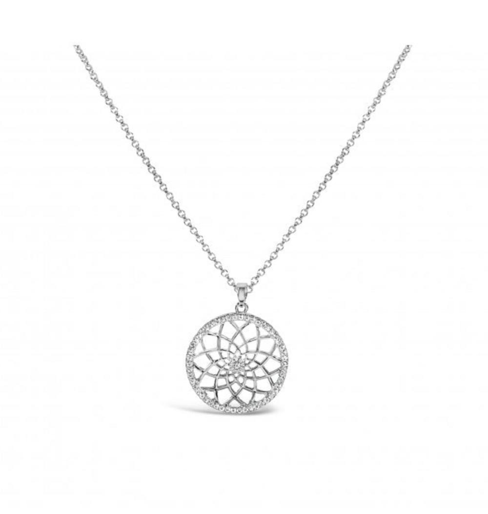 Circle Mandela pendant with birthstone.