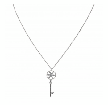 Rhodium plated key necklace.
