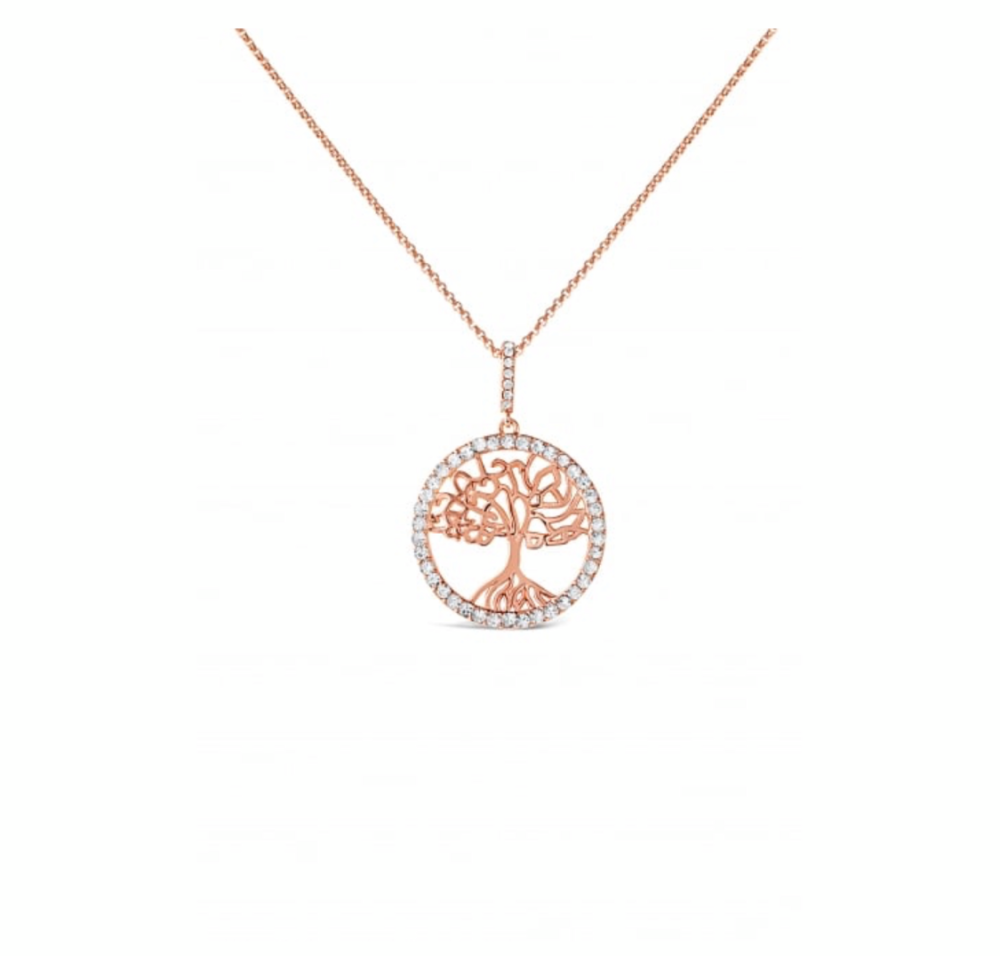 Crystal set tree of life necklace.