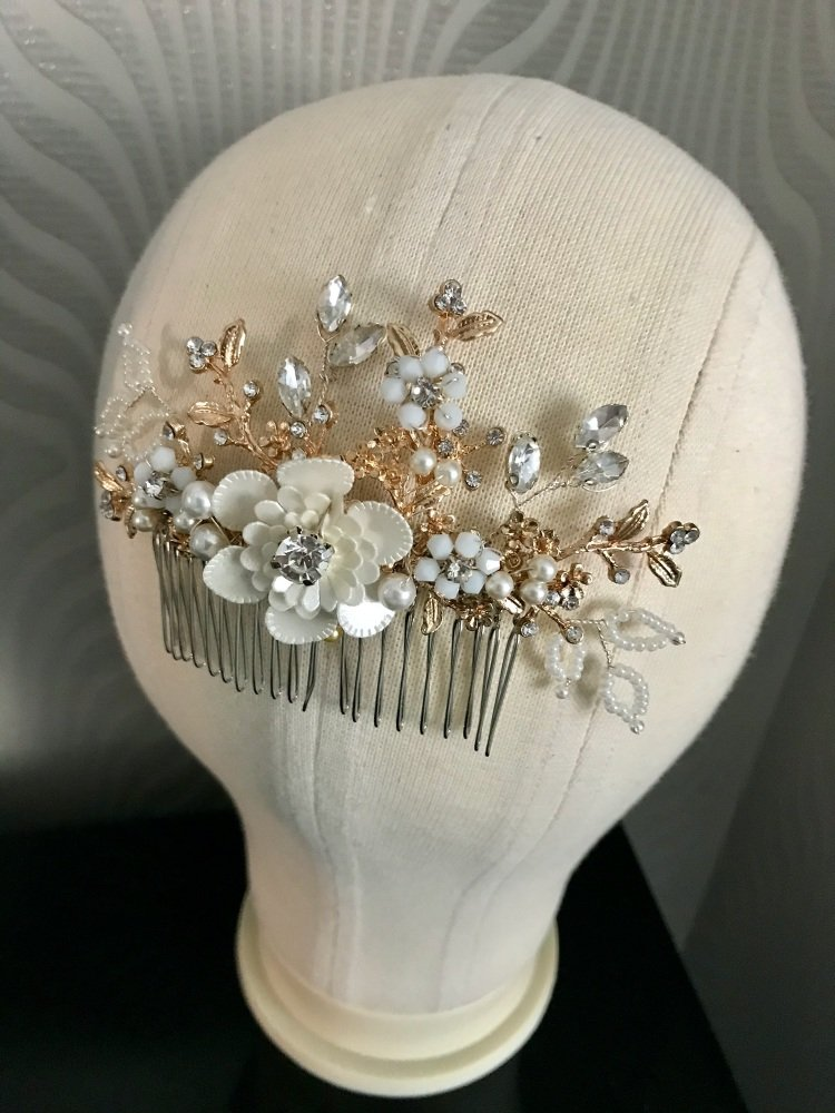 Silver crystal hair comb.