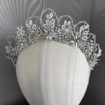 Crystal flower and leaf tiara.