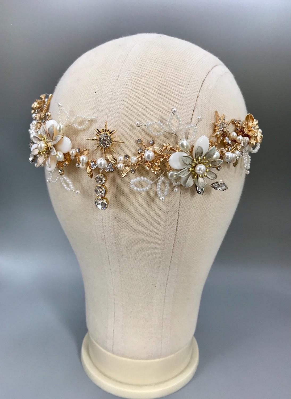Flowers and Stars bridal headband