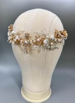 Flowers and Stars bridal back headpiece.