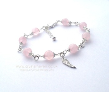 Rose Quartz Bracelet with Wing