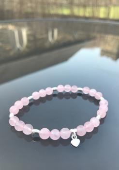Rose Quartz Crystal - Sterling Silver Bracelet
