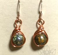 African Turquoise Rose Gold Earrings