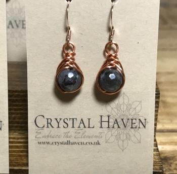 Larvikite Rose Gold Earrings