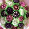 cupcake bouquet purple and pink large