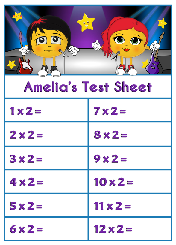 Personalised Times Table Test Sheets (Download)