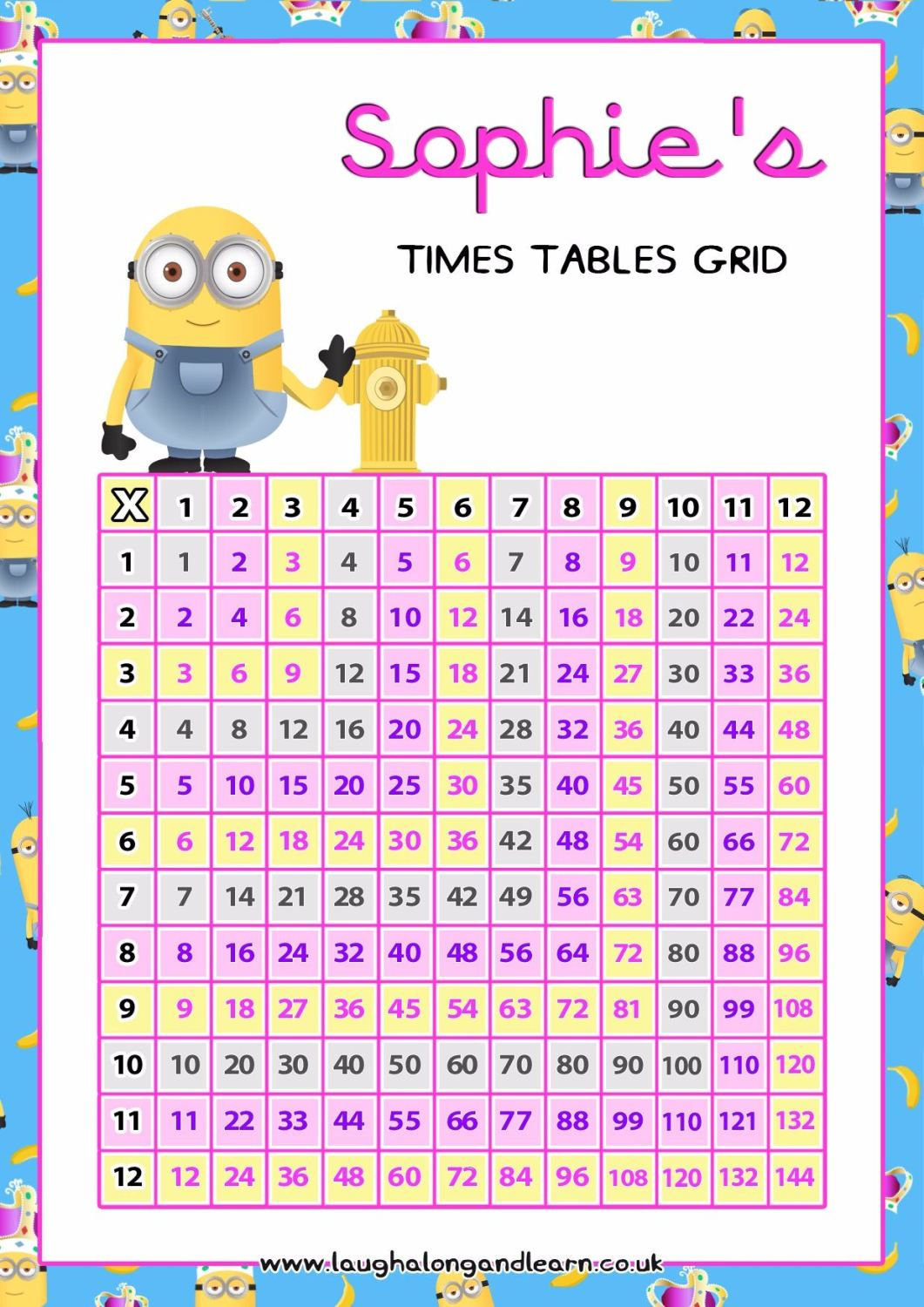 A minions multiplication chart square pink download for Multiplication table of 99