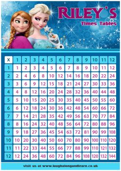 ✩ Personalised Princess Elsa & Anna, Frozen Times Tables Chart