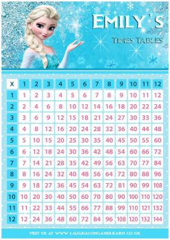 ✩ Personalised Princess Elsa, Frozen Times Tables Chart