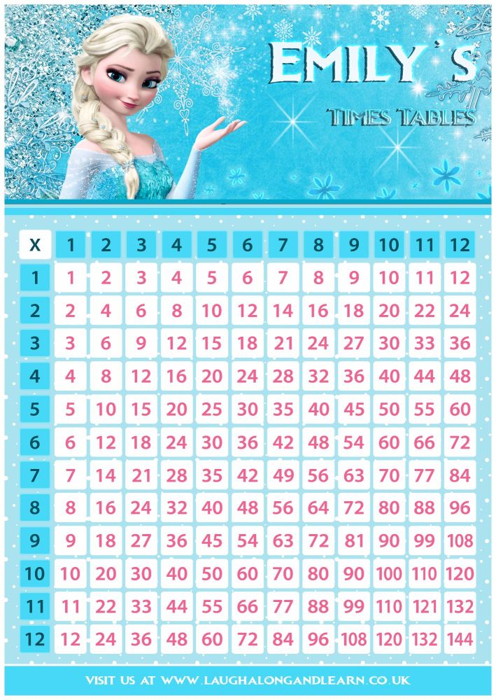 ✩ Personalised Princess Elsa, Frozen Times Tables Grid
