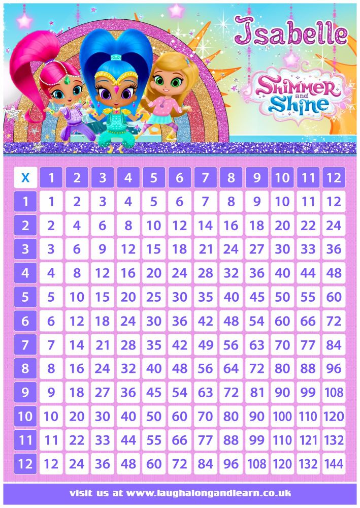 ✩ Personalised Shimmer & Shine Times Tables Grid