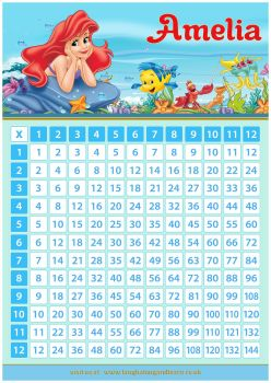 ✩ Personalised Ariel, The Little Mermaid Times Tables Chart