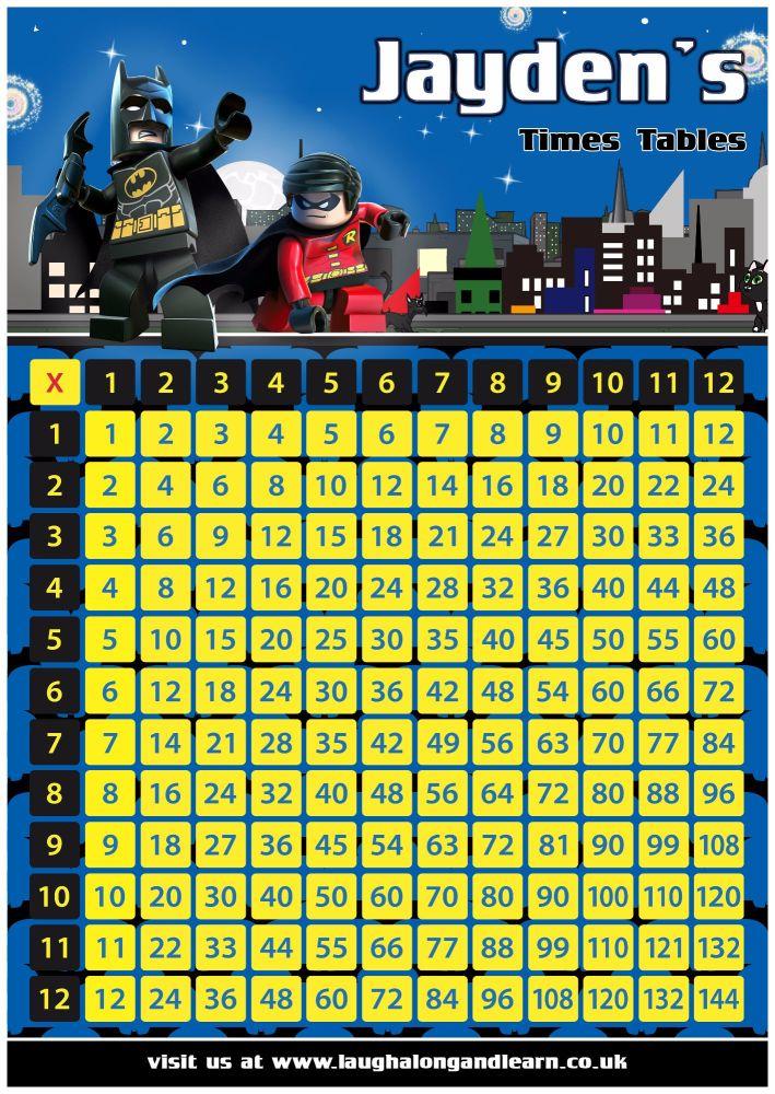 ✩ Personalised Batman Times Tables Grid