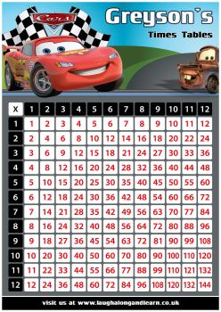 ✩ Personalised Cars Times Tables Chart
