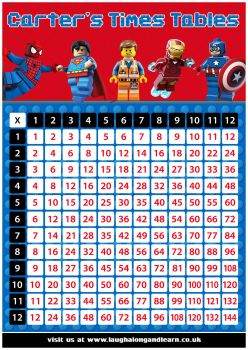 ✩ Personalised Lego Times Tables Chart