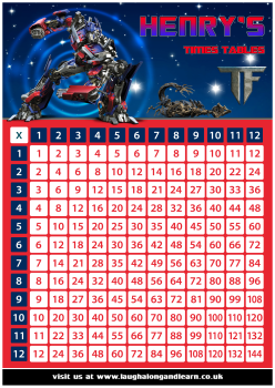✩ Personalised Transformers Times Tables eBOOK