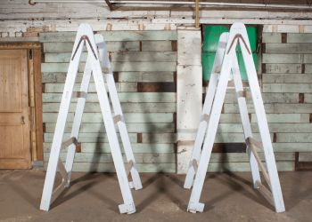 Pair of Blue Wooden ladders
