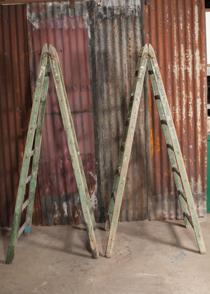 Pair of Green wooden A frame Ladders