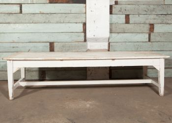 White Slatted Bench