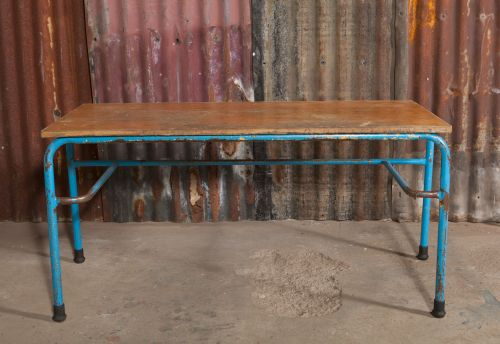 Blue Metal leg bench
