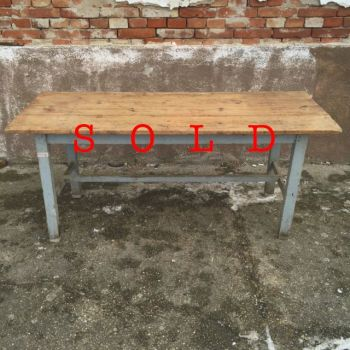 Grey leg table with pine board top