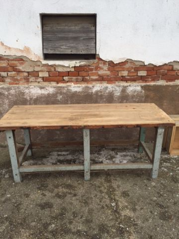 wood table with grey base/legs