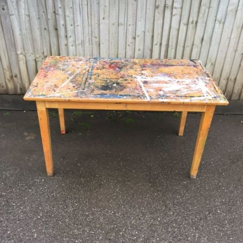 Paint splattered pine table