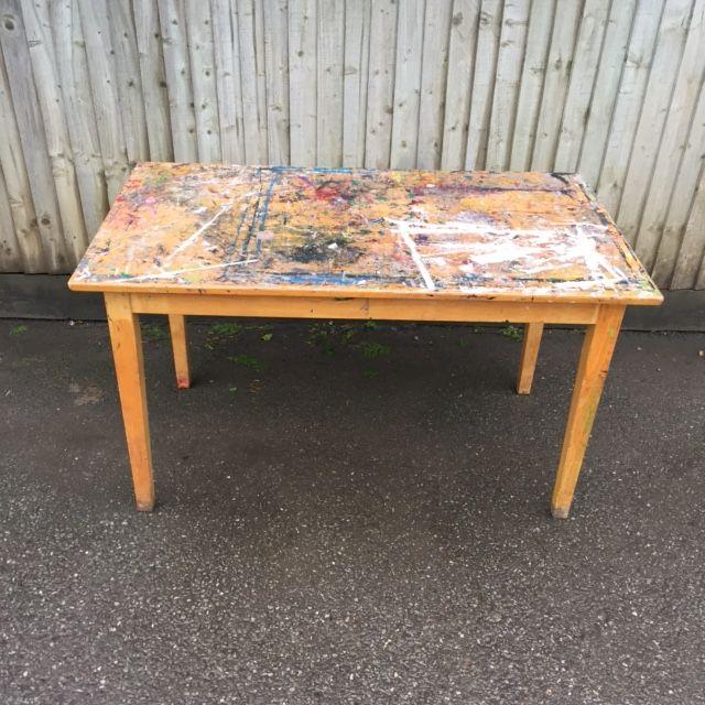 Paint splattered pine table