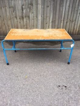 Pine table with blue metal legs