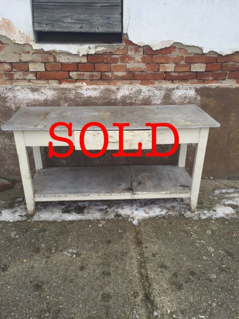 Zinc top table with drawer and shelf